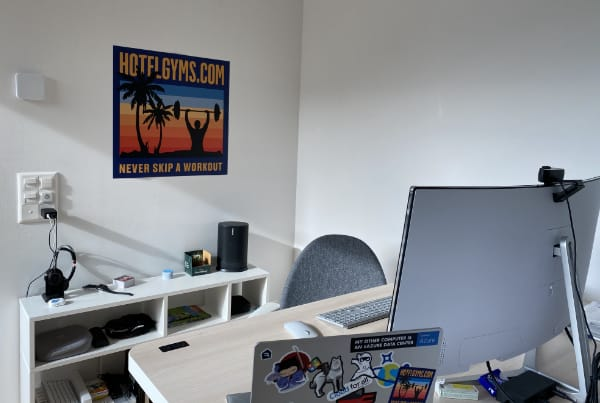 "Yaasa adjustable desk, Sonos Move, LC-Power 34"" curved Screen, Surface Laptop, HotelGyms.com Poster"